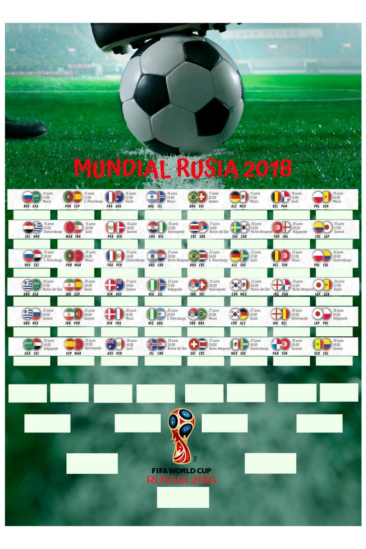 Calendario poster mundial de fútbol animacion turistica
